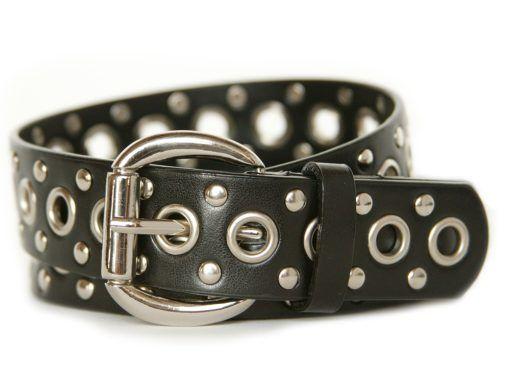Nickel Smart™ Black Leather Studded Belt