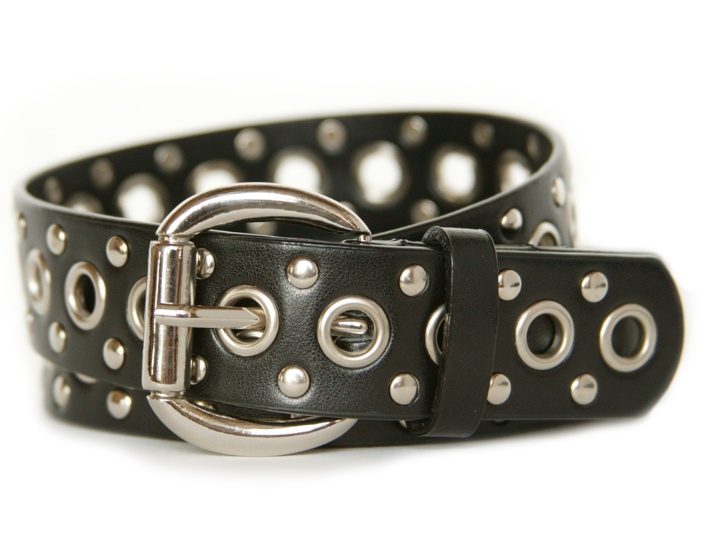 Nickel Smart™ Black Leather Studded Belt